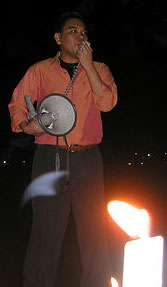 Me at the candle lighting against US war on Iraq (19 March 2004, UP Sunken Garden)