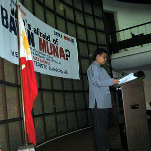 Master of ceremonies, Who's Afraid of Bayan Muna? on 27 April 2004 at the UP Faculty Center Bulwagang Recto