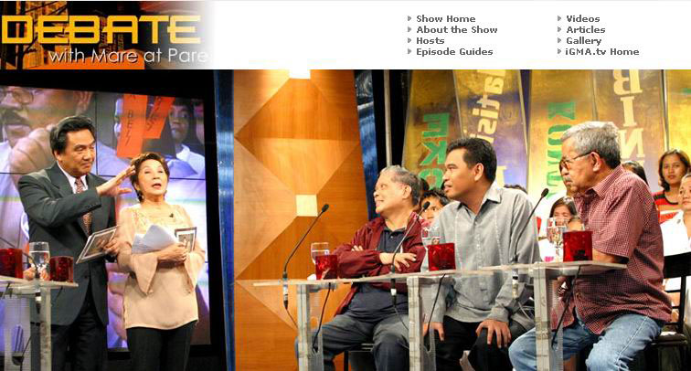 That's me with Debate with Mare at Pare (GMA 7) hosts Oscar Orbos and Winnie Monsod and co-panelists Rene Saguisag and Jake Macasaet on March 16, 2006.
