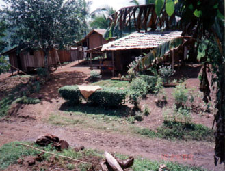 A typical house in Barangay Buhi made of wood and nipa.