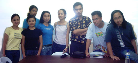 Me with my Journalism 107 (Business Reporting) students, 2 Oct 2003