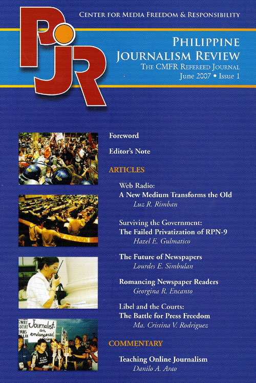 Philippine Journalism Review cover