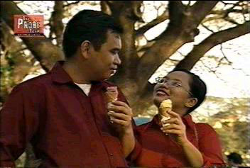 Danny and Joy eating ice cream
